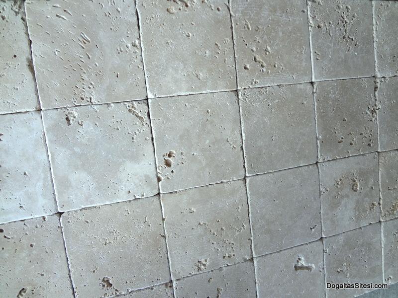 10X10 cm krem eskitme traverten-E107