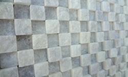 2,5x2,5 cm beyaz kübik patlatma mermer-PM108