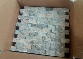 2,5x5 cm gümüş patlatma traverten-PT104